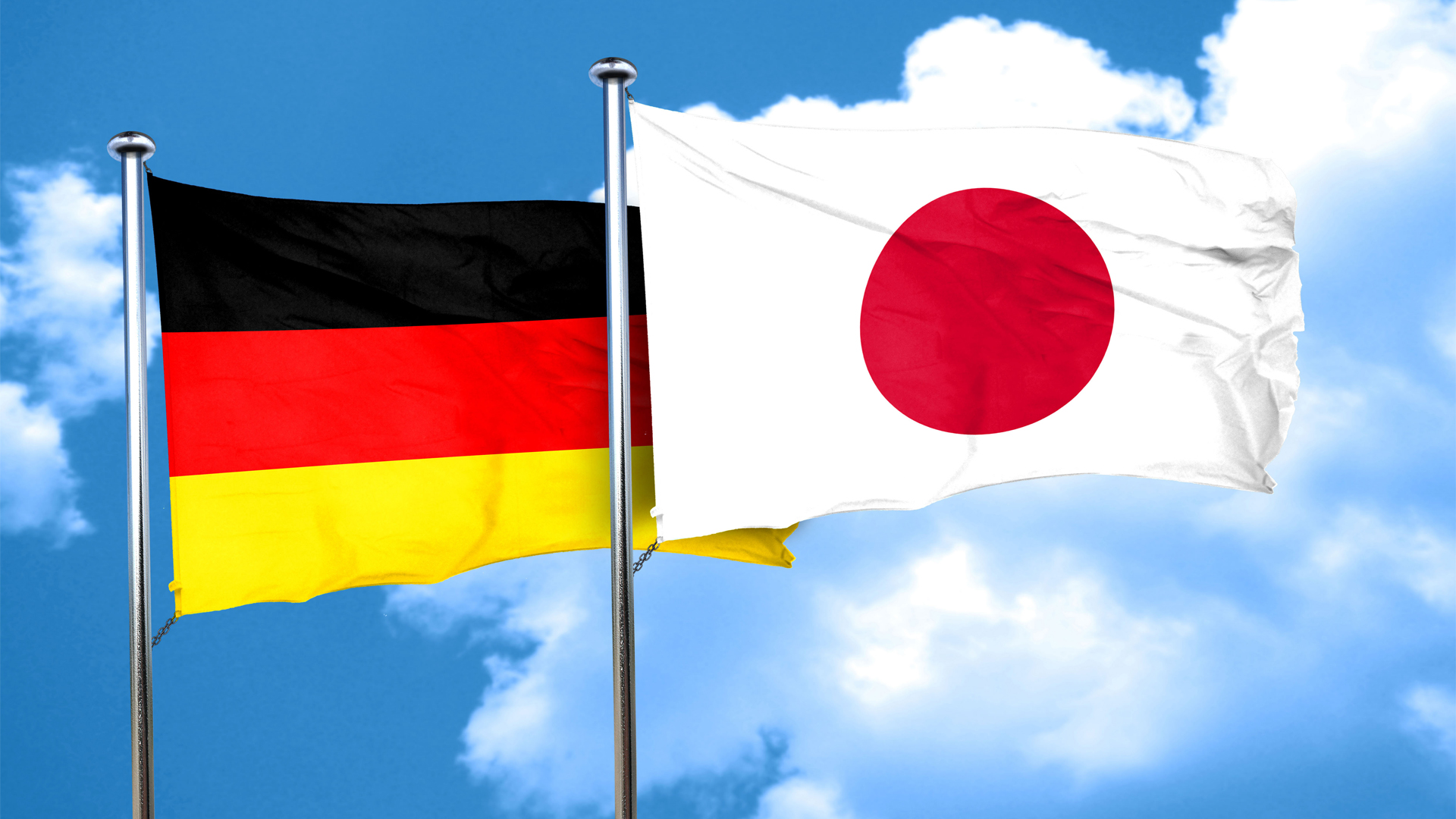 Fahnen von Deutschland und Japan