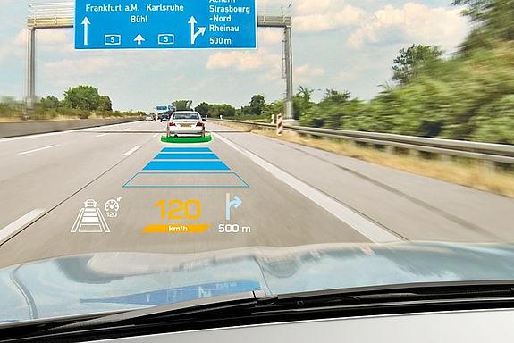 Beispiel für Anwendung der im Projekt entwickelten photonischen Komponenten: Head-up-Display